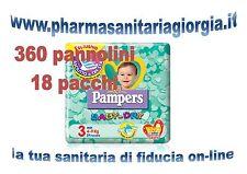 360 PANNOLINI PAMPERS BABY DRY TAG.3 MIDI(4-9 KG) 18 PACCHI DA 20 PEZZI CAD.U