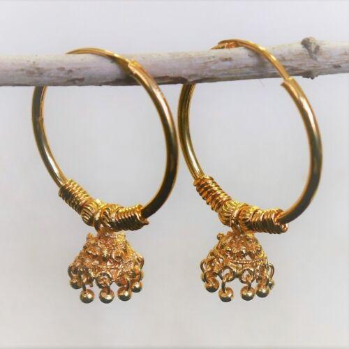 Gold Plated Dangle Hoop Earrings Indian Bollywood kapa Jewelry Design