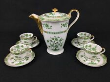 Haviland Limoges Chocolate Coffee Pot & 4 Demitasse Cups Green, Gold, Gorgeous!