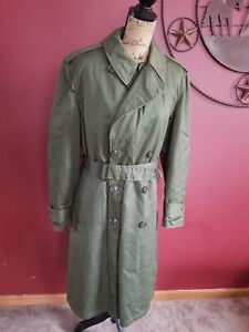 Olive-Green-Army-Winter-Coat-Jacket-Trench-Men-Med-Vintage-Miltary-overcoat-u-s