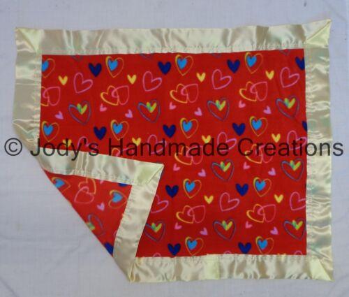 HANDMADE BABY// PET FLEECE SECURITY BLANKET w// SATIN TRIM RED HEARTS 29X37