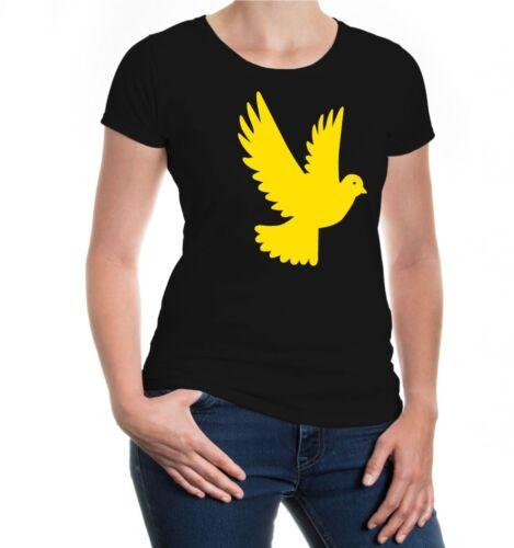 Damen Kurzarm Girlie T-Shirt Taube-Tier-Silhouette Frieden peace