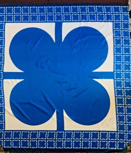 "LIZ CLAIBORNE OVERSIZED Polyester Blue /& White Scarf Wrap Tapestry ~  48/""  x 48/"""
