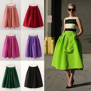 Vintage Retro Womens High Waist Flared Skater Pleated Full Skirt 7 ...