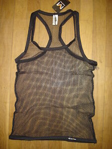 c02d2ffea6130 Tank top black size M fishnet transparent sheer sexy gay Ref M10