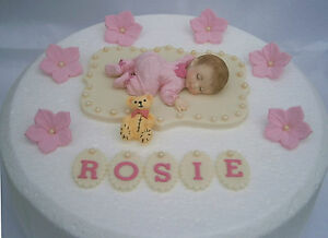 1st birthday cake topper pink Edible personalised butterfly /& baby Christening