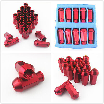 20 Pcs M12 x 1.5MM Red Aluminum Wheel Extended Tuner Lug Nut Kit For Hyundai Kia