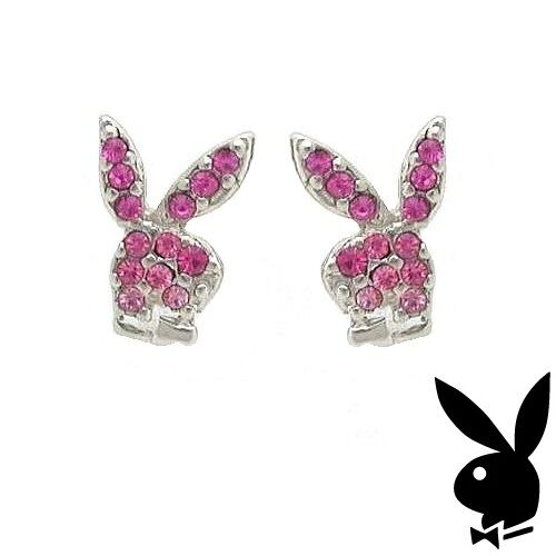 614be511b Playboy Earrings Bunny Logo Stud Pink Swarovski Crystal Silver Plated  Jewelry 2a for sale online | eBay