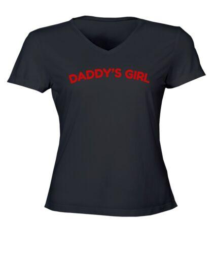 Daddy/'s Girl Ladies Women Junior V-Neck Top Tee T-Shirt Cotton Short Sleeve