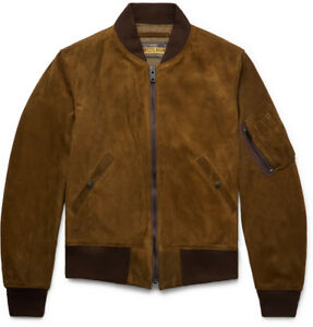 214c88706 Details about NWT Schott NYC P2MA1 Goat Suede MA-1 Bomber Jacket (Made in  USA) RRP $1200