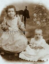 ANTIQUE CABINET PHOTO TWO CUTE LITTLE GIRLS ID'd MORK of WISNER NE 1800s