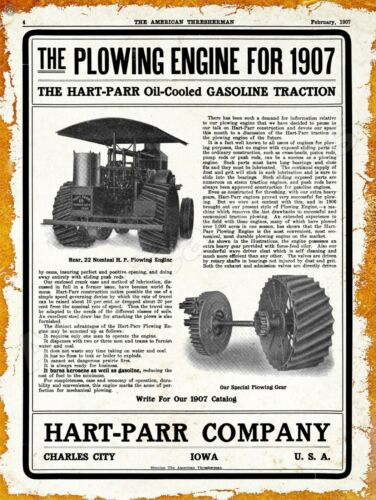 1907 Hart Parr Gasoline Traction Engine New Metal Sign Charles City Iowa