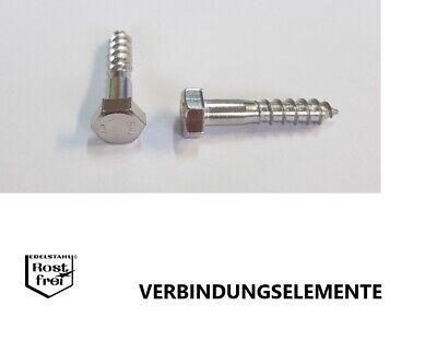 verschiedene Längen Holzschrauben mit Sechskantkopf DIN 571 Edelstahl A2 Ø6mm