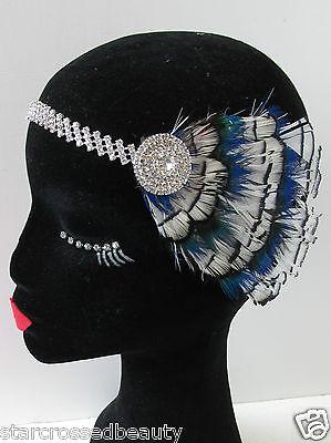 Bleu Clair Argent Plume D/'autruche Flapper Coiffe Années 1920 Vintage Headband