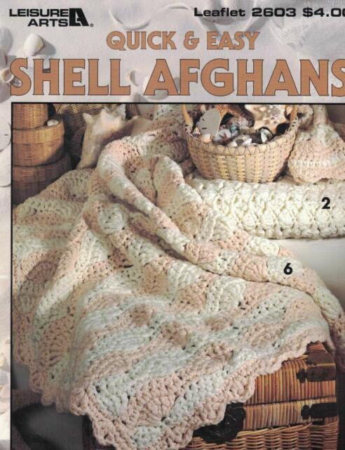 Quick & Easy Shell Afghans Leisure Arts 2603 7 Designs to Crochet