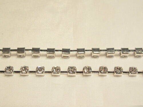 Cup01 4mm Silver Plated Cups 1 metre x Crystal Diamante Cup Chain