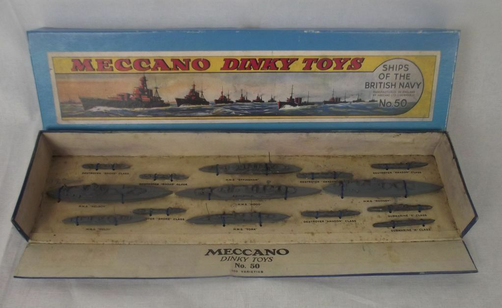 Boxed (Copy Lid) Dinky Pre-war Set No. 50 50 Ships of the British Navy 1934-42  1