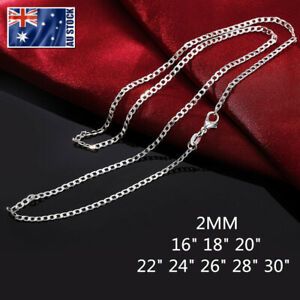 Wholesale-925-Sterling-Silver-Filled-2mm-Classic-Curb-Chain-Necklace-For-Pendant