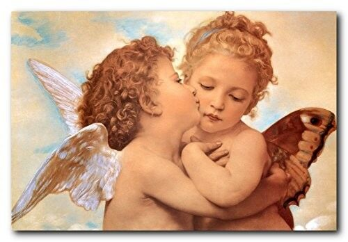 William-Adolphe Bouguereau the First Kiss Religious Wall Decor Art Print 16x20