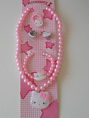 Hello Kitty Necklace Set. PINK .inc clip ear rings etc.UK SELLER.FREE POSTAGE