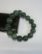 Natural dark green jade 10mm beaded stretchy bracele (15 beads)