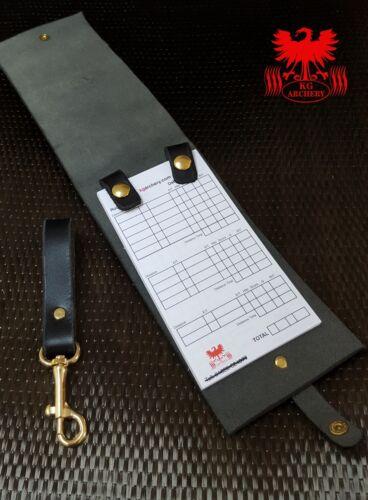 Kg véritable qualité CUIR score book-Marron Vert Noir Avec Pad /& clip ceinture