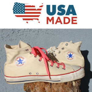 f2d9b255f5fe Details about VINTAGE 80 s Made in USA Converse All Star Chuck Taylor Hi  Tops 11 WHITE VTG 70