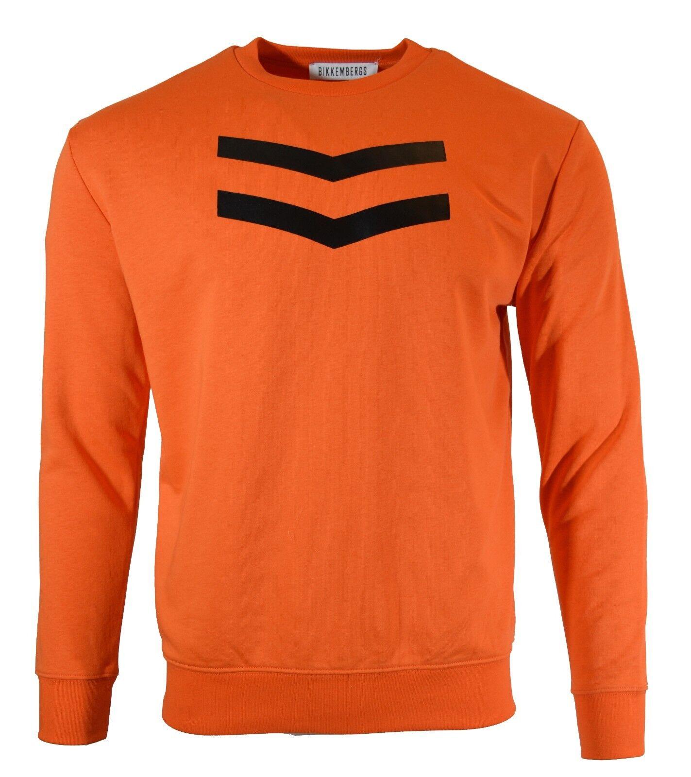 50% OFF | BIKKEMBERGS SWEATSHIRT CHEVRON LOGO TOP Orange C600201M3809K12 RARE