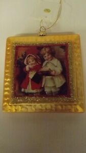 New-Glass-Square-Shape-Ornament-Children-Caroling-Mint-with-Tag