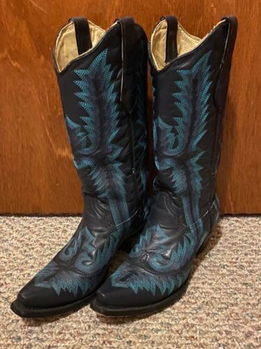 Corral Boots A2900 Blue Western Size 7.5 Cowboy Bo
