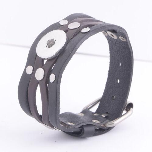 10pcs//lot Femmes Snap Bracelet Simili Cuir Fahion Jewelry fit 18 mm Ginger Snap Bouton