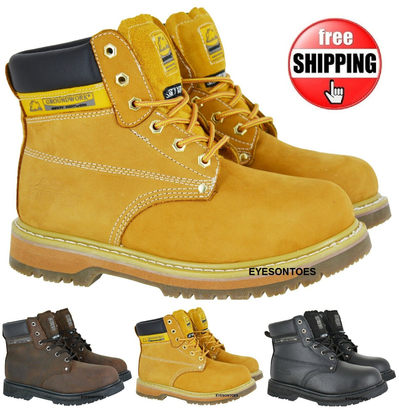 MENS COMFORT WORK SAFETY BOOTS NON SLIP SOLE LEATHER STEEL TOE CAPS NEW LACE UP