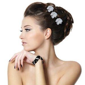 Braut haarschmuck blume  3 Haarnadeln große Blumen Hochzeit Strass Tiara Diadem Braut ...