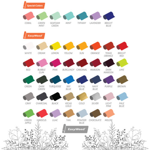 """MSG US YOUR COLORS! 12/""""x 15/"""" Mix /& Match Siser Easyweed Heat Transfer Vinyl"""