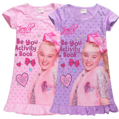 Kid Girls Jojo Siwa Dress Short Sleeve Nightdress Nightwear Summer Pyjamas Dress