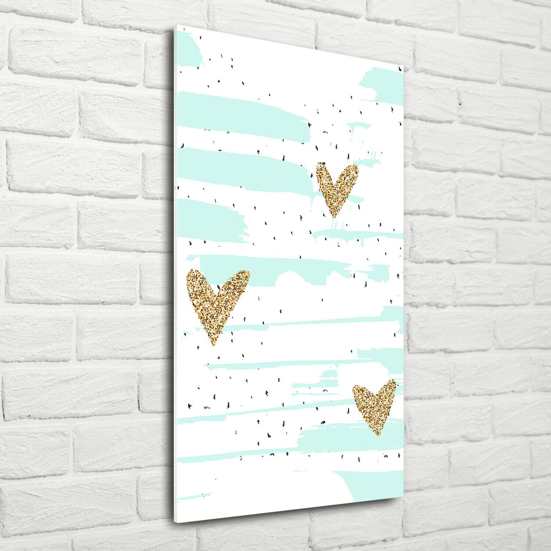 Wand-Bild Kunstdruck aus Acryl-Glas Hochformat 70x140 Herzen Flecken