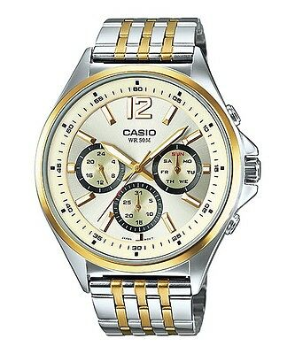 MTP-E303SG-9A Gold Casio Watches Stainless Steel Band Analog Brand-New