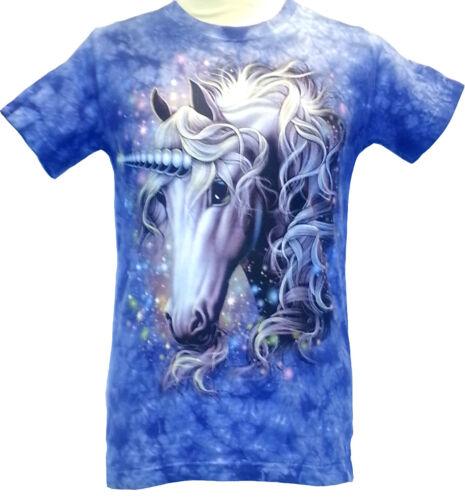 Brand new Unicorn Blue hand Tie Dye T Shirt//Wild//Unisex//Kids//Horse//Horn//Tee//Top