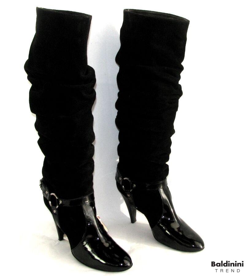 80% de descuento BALDININI - - - botas TALONS 10 CM CUIR negro VELOURS & VERNI 40 TRES BON ETAT BOITE  despacho de tienda