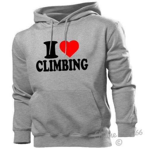 I LOVE CLIMBING HOODIE HEART HOODY MEN WOMEN KIDS ROCK CLIMB ROPE MOUNTAINS