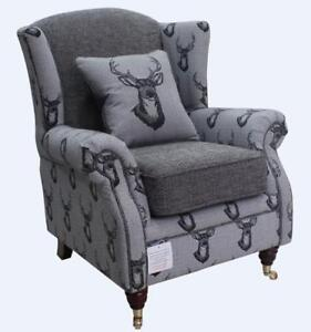 Ashley-Fireside-High-Back-Wing-Armchair-Antler-Stag-Charcoal-Grey-Chair