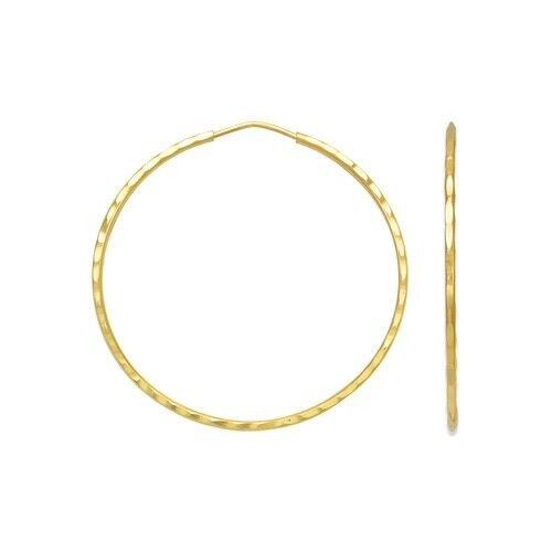 14k yellow gold dimond cut endless hoops earrings 1.2mm wide about 24mm diameter