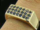 R153 - REAL Genuine 9ct Solid Yellow GOLD NATURAL Sapphire Pave-set RING size V