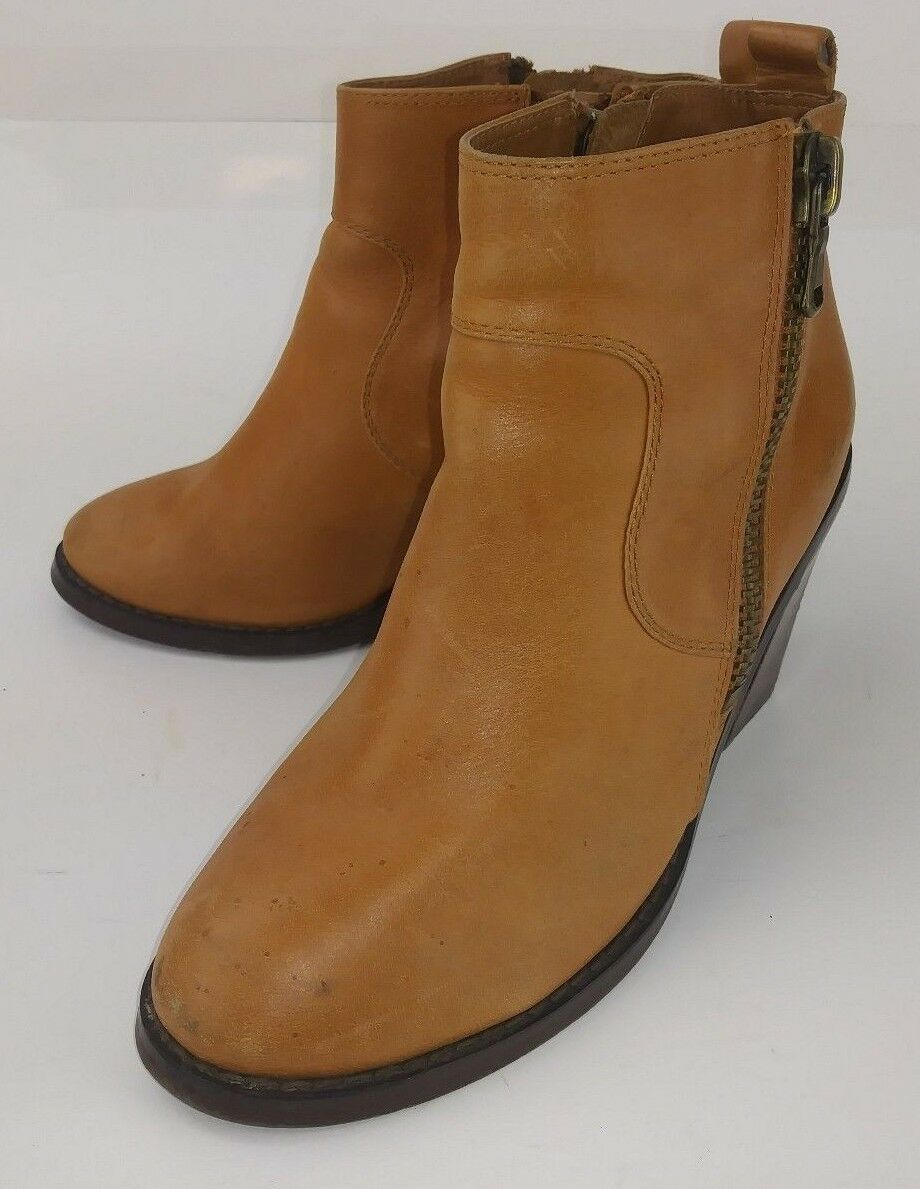 Soles Womens Boots Ankle Brown Leather Double Zip Heels 1533