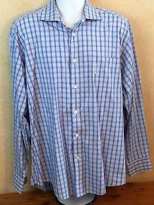 c5a043ebf65e Faconnable Men s Blue Plaid Cotton Long Sleeve Shirt Made In USA ...