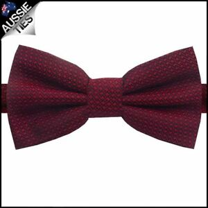 Burgundy-Red-Woven-Texture-Bow-Tie