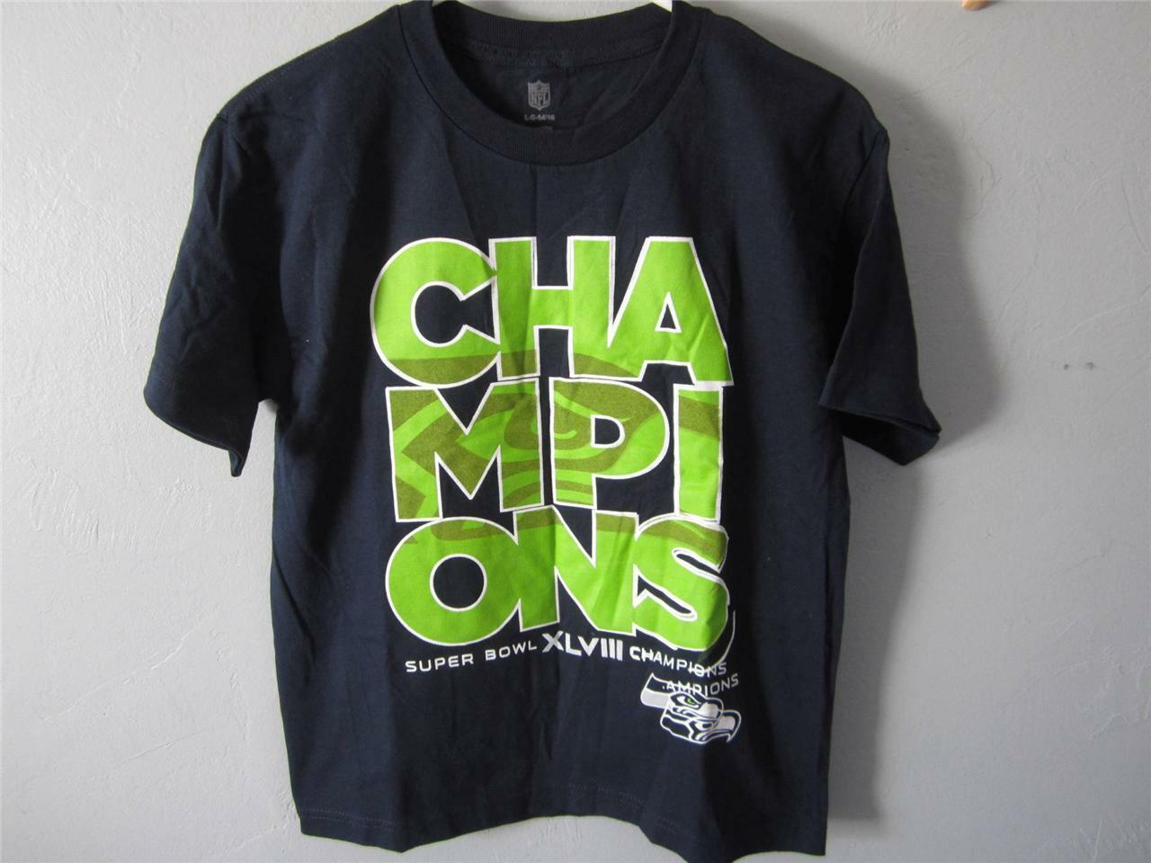 New-Flawed Seattle Seahawks L Super Bol Xlviii Champs Jeune GRAND L Seahawks Chemise 42VE d3ab79