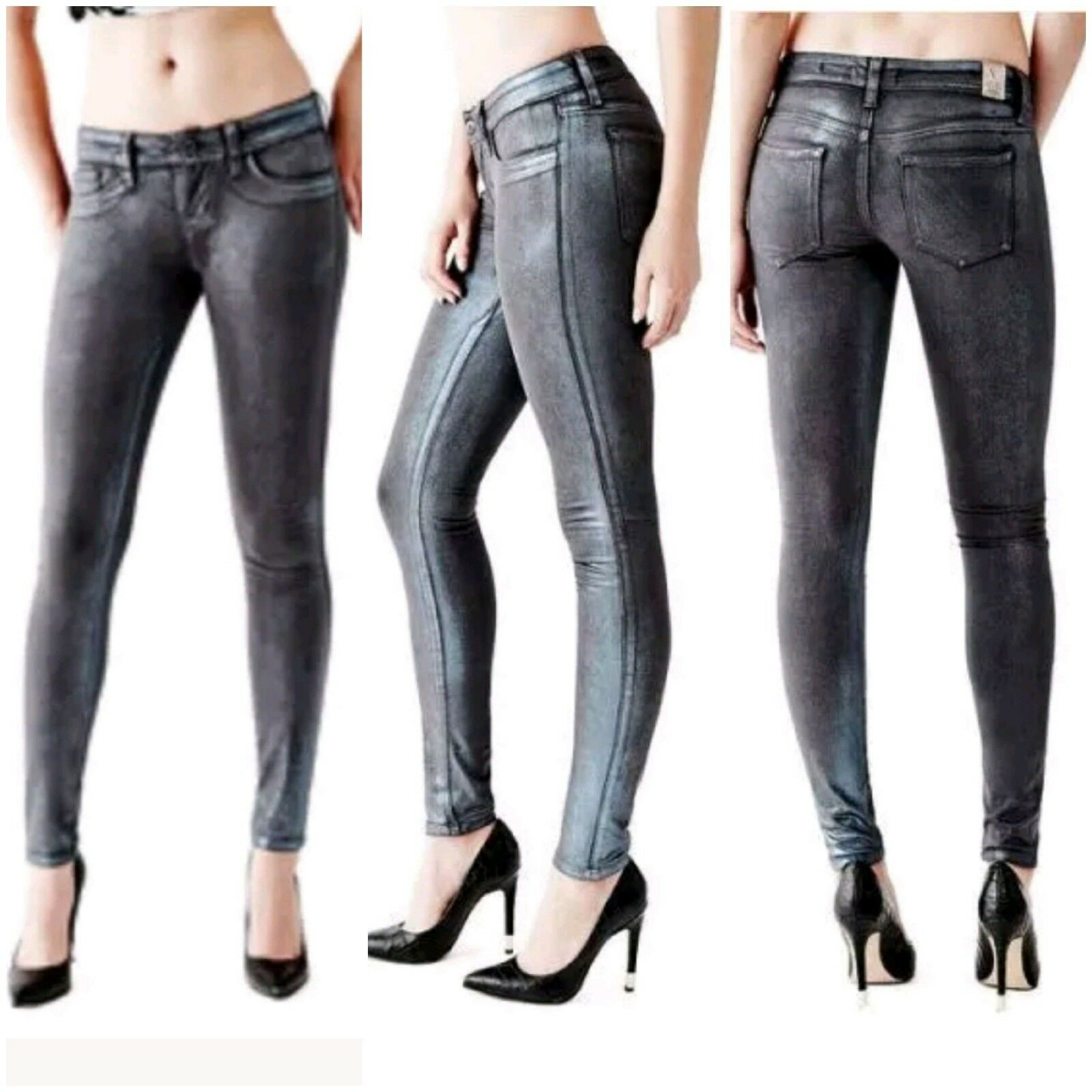 GUESS Low-Rise Metallic Power Skinny Jeans in Radiant Indigo Wash size 24