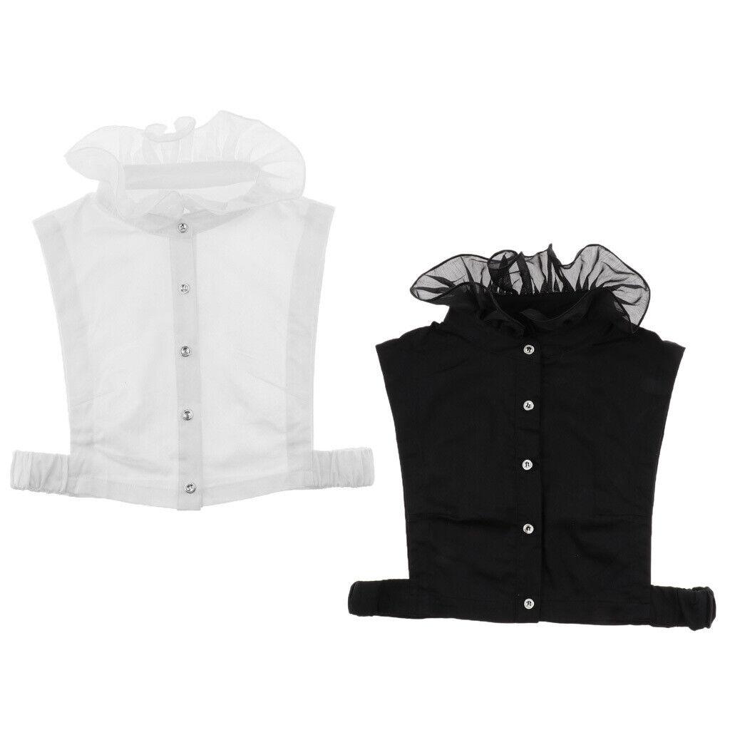 Women Detachable Fake Collar Half Shirt Blouse False Faux Collar Tie Adjustable