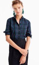 NWT J.CREW Club Collar Perfect Shirt Black Watch Plaid Tartan Sz 6 #F9294 New